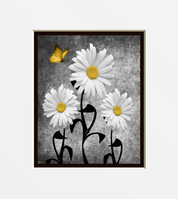 Yellow Gray Wall Art Decorative Daisy Flower By