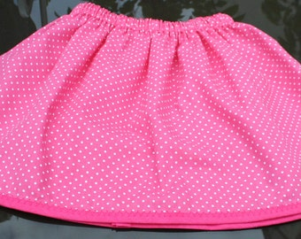 Handmade 100% cotton fuscia pink polkadot elasticated skirt (2-4 years)