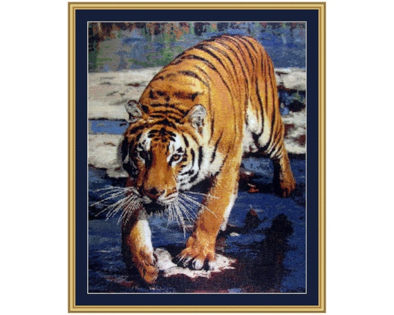 Tiger Run, Cross Stitch Kit Tiger, Large