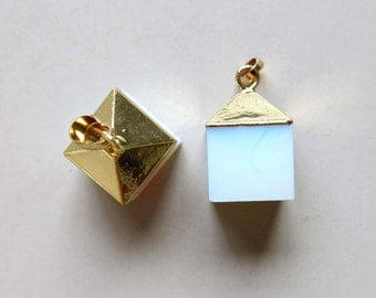 Opalite Cube Pendant with Golden Cap - B1247