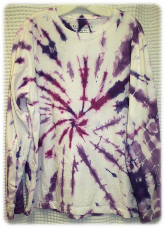 Tie Dye Shirt/Adult T-Shirt/Long Sleeve/Purple Fireworks/Eco-Friendly Dying