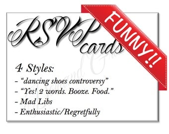 FUNNY RSVP Cards (4 styles) *personalized*hilarious*fun*humorous*
