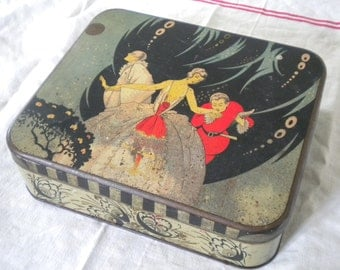 Vintage 1900s French Tin box Elegant Lady in Art Nouveau Style and Harlequin Clown