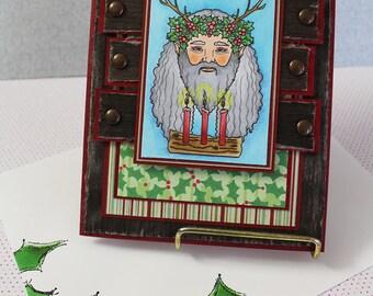 Holly King / Father Christmas - Handmade Greeting Card