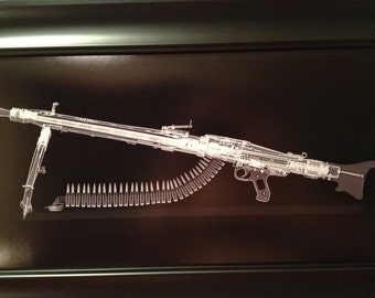 MG 42 belt fed machine gun Xray print