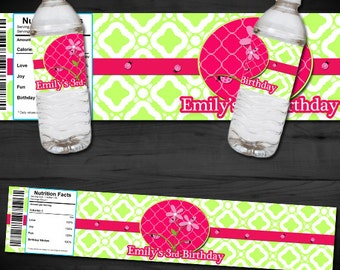 Lady Bug Themed Printable Water Bottle Label