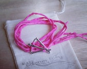 MINI Open Heart Warrior silk wrap bracelet Perfect for your kids too Recycled Sterling Silver / Eco-Friendly Jewelry