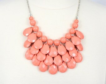 Coral Tear Drop Necklace Orange Multi Layered Bib Necklace Coral Statement Necklace Set