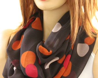Dots Printed Infinity Scarf - Fashion infinity scarf. Loop scarf. Circle scarf. Women Scarf. Gift, accessory, fashion accessory, scarves
