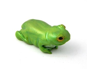 Green Tree Frog, Hand-Sculpted Miniature Figurine, Polymer Clay, St. Patrick's Day gift