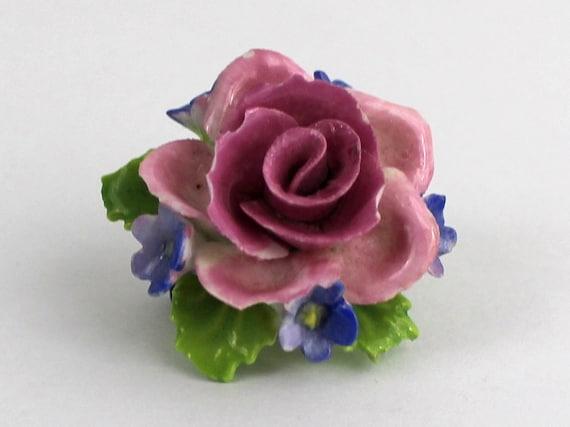 Articulated Rose Floral Brooch - Pink Rose and Violet Brooch Pin - Vintage 1950s Flower Brooch
