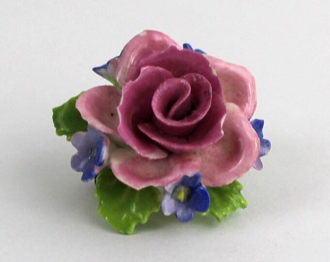 Vintage 1950s Porcelain Rose Brooch