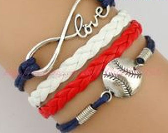 Red White and Blue Baseball Bracelets