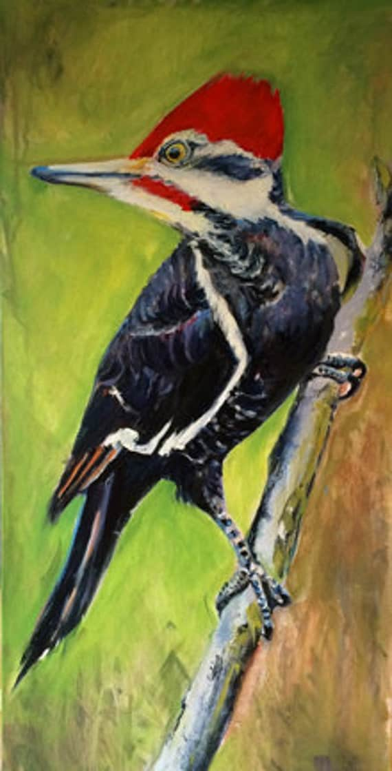 Woodpecker 12x24 oil painting by MeredithReynellsArt on Etsy