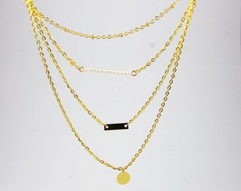 Multilayer Four Layer Gold Necklace layering With Charms and Pearl Style Beads mini circle bar
