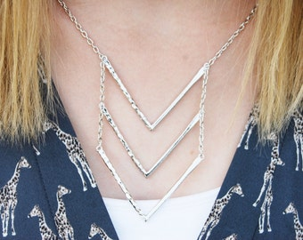 SILVER plated Simple Three Layer Stacked Chevron Necklace Minimalist Dainty Delicate Triangle Arrow