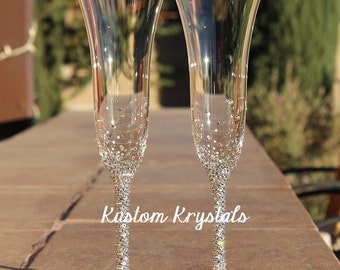 Vera Wang Wedgewood Classic Toasting Flutes krystalized with Swarovski Crystals. Champagne flutes, toasting glasses. custom. personalized.