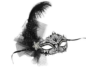 Jillian Bejeweled Feather Decorated Laser Cut Masked Ball Mask - A-2539B-R