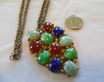 Large Abstract Pendant, Goldtone Metal Multi-Colored Stones Necklace