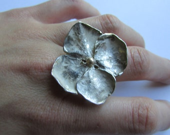 Flower Ring, Hydrangea Flower Ring, Silver and Gold Flower Ring
