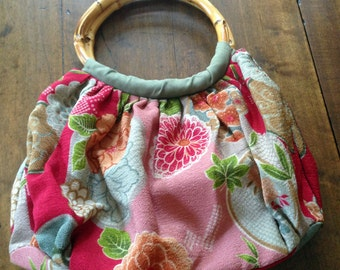 Cotton Floral Hand Bag, Purse With Rattan Handles, Summer Time, Special Gift, Floral Print, Garden Party, Birthday Gift, Vintage Gift,  R