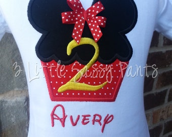 Minnie Mouse Birthday Embroidered Shirt- Birthday Applique Shirt- Minnie Mouse Head Shirt- Disney- Custom- Vacation Shirt- Cupcake