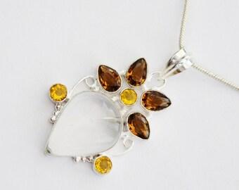 Beautiful Necklace with Genuine  Rose Quartz & Quartz