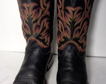 JUSTIN Black Leather Square Toe Western Cowboy Boots Men's Size 11