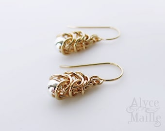 Petite 14kt Gold Filled Chainmaille Earrings - Silver and Gold Earrings - Delicate Jewelry - Silver Bead Gold Earring 14kt - Gold Pyramid