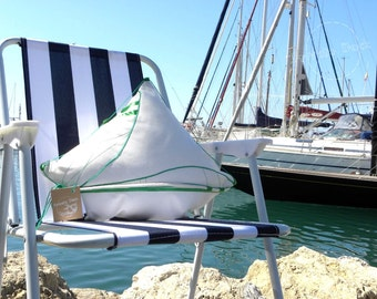 SALE -20% Nautical Pillow Andalusian Yacht with Flag Nautical Art Luxury White Home Decor. Spectacular gift for Sailor!
