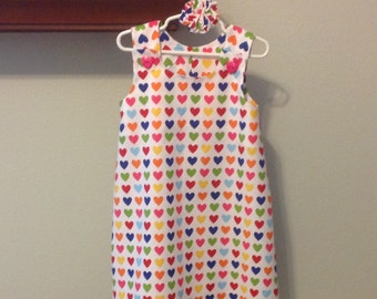 """Dress - """"No Hearts About It"""" in Red, Orange, Hot Pink, Yellow, Blue, Green Hearts - jumper or sundress"""