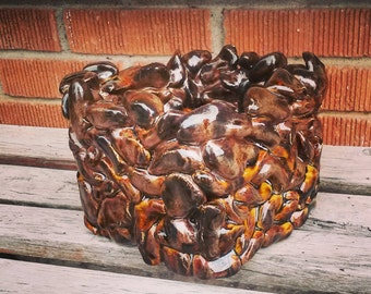 Handmade pottery rock box cube sculpture glazed in sparkly metallic brown square sculpture large square bowl