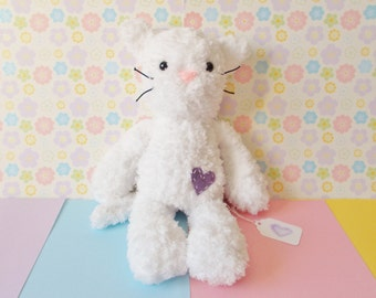 White Cat Plush toy - Knitted cat toy - Stuffed cat - Cat Stuffed Toy