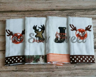 Hunting themed burp cloths.