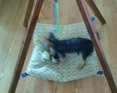 Hanging TeePee Pet Hammock w/ Toy, Cat Bed, Small Dog Hammock, Ferret Bed, Rabbit Hammock, Pet Bed, Pet Hammock, Pet Play House