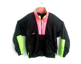 Vintage 90s Winbreaker Jacket Columbia Neon Colorblock Large