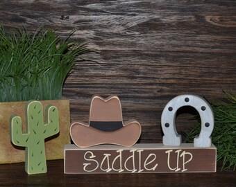 Saddle Up Cowboy Western Home Decor Cowboy Nursery Decoration Southwestern Decor Cactus Cowboy Hat Cowboy Boots Western Decor Block Set
