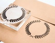 Olive Wreath #6 Rubber Stamp  - 2x2 inches - Laurels