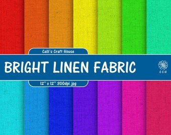 Bright Linen Digital Papers - Linen Fabric Background - bright colors - 14 papers - 12 x 12 inch - Commercial Use - Instant Download