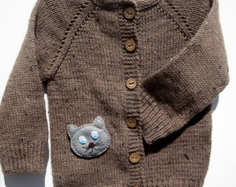 Brown merino wool sweater for children / Brown hand knitted cardigan for baby - kids/ Children sweater, jacket