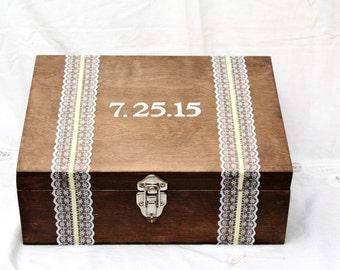 Wine Ceremony Box, Rustic Wedding Card Box, Memory Keepsake Box, Card Box, Pesonalized Wine Ceremony Promise Box