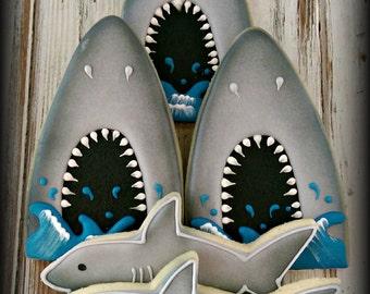 Shark Fish Ocean Nautical Decorated Sugar Cookies