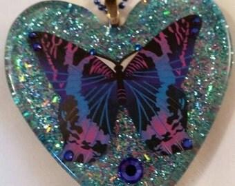 Butterfly Resin Necklace Pendant by JoshsPonyPrincess