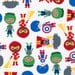 Superhero Fabric - Super Kids by Ann Kelle - Robert Kaufman. Super Kids. 100% cotton. AAK-14157-204 PRIMARY - By the 1/2 Yard