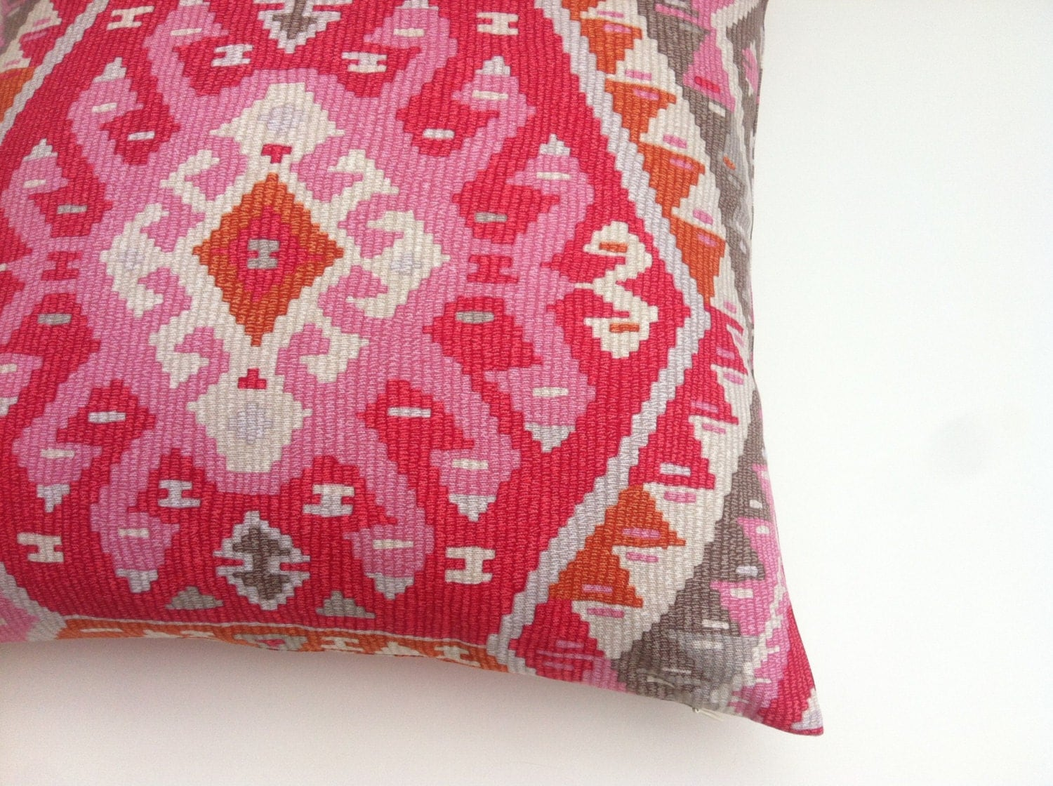 One PRINTED Aztec Sunset Pink Decorative Zipper Pillow Cover