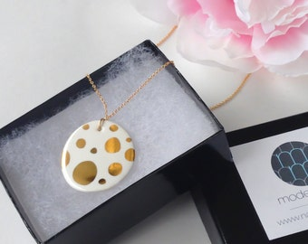 Galaxy Necklace in White and Gold - Polka Dot Necklace - Valentine's day, Mother's Day, bridesmaid gift - party favor, wedding favor