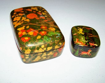 Paper Mache Hand Painted Lacquered Trinket Boxes