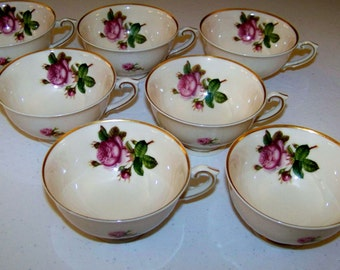 Syracuse China Victoria Rose Set Of Seven Vintage Cups