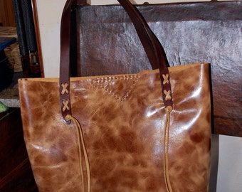 Distressed Tan Leather Hand Stitched Market Tote Bag