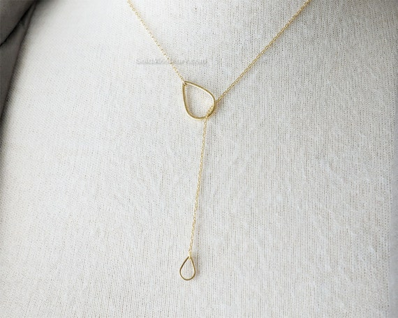 Gold Tear Drop down Necklace / Simple Tear Lariat Necklace
